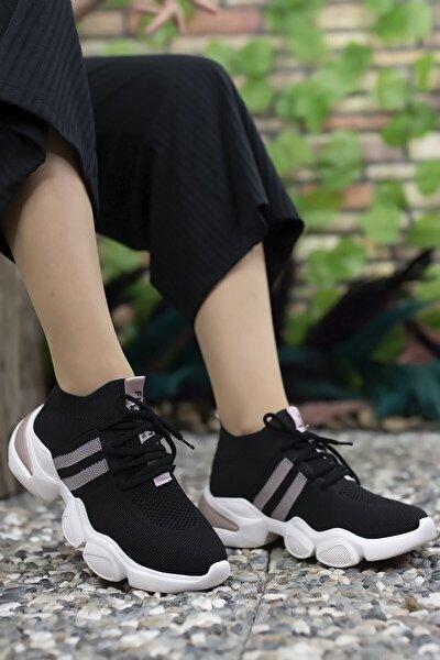 Siyah Pudra Kadın Sneaker 0012303