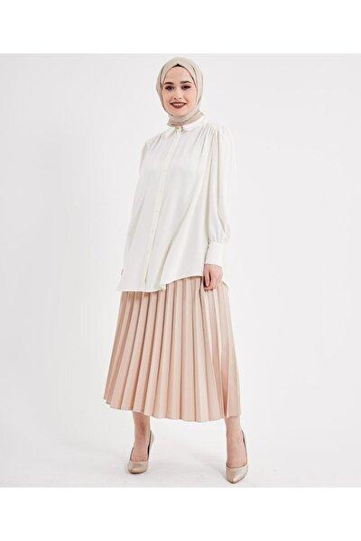 Kadın Beyaz Yakalı Klasik Tesettür Gömlek