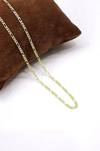 Silver Unisex Extra Ince Figaro 1,9 Mm Gold Altın Kaplama 925 Ayar Gümüş Kolye Zincir Omr8191