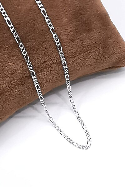 Silver Unisex Extra Ince Figaro 1,9 Mm Rodyum 925 Ayar Gümüş Kolye Zincir Omr8201