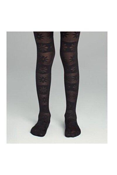 Kız Çocuk Siyah Pretty Basic Flower Külotlu Çorap | Pcdp623g19sk