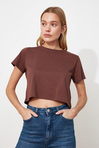 Kahverengi %100 Pamuk Bisiklet Yaka Crop Örme T-Shirt TWOSS20TS0135