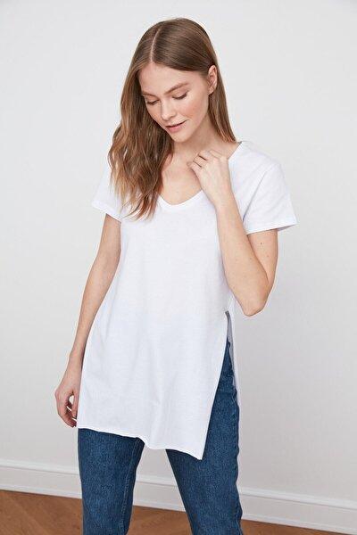Kadın Yanları Yırtmaçlı Kısa Kol Basic Tshirt