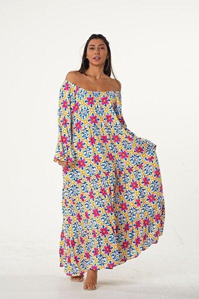 Kadın Pembe Carmen Yaka Kolları Volanlı Çiçek Desenli Salaş Elbise