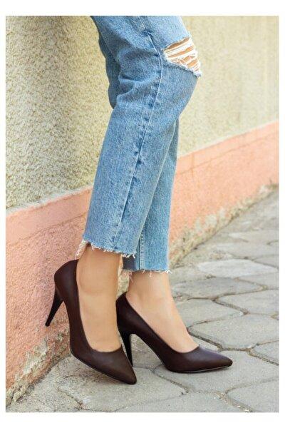 Kadın Kahverengi Cilt Stiletto Ayakkabı