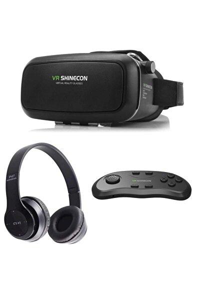 Sanal Gerçeklik Gözlüğü Kumanda Ve Bluetooth Kulaklık Seti