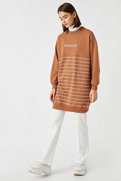 Kadın Kahverengi Pamuklu Çizgili Sloganlı Uzun Sweatshirt