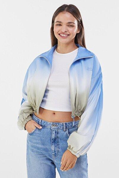 Kadın Haki Gölgeli Desenli Ceket