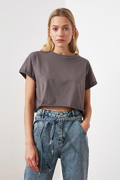 Antrasit Crop Örme T-Shirt TWOSS20TS1257