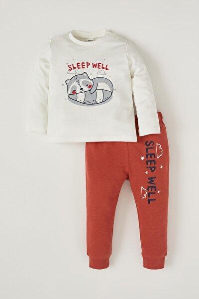 Erkek Bebek Sevimli Panda Baskılı Pijama Takımı
