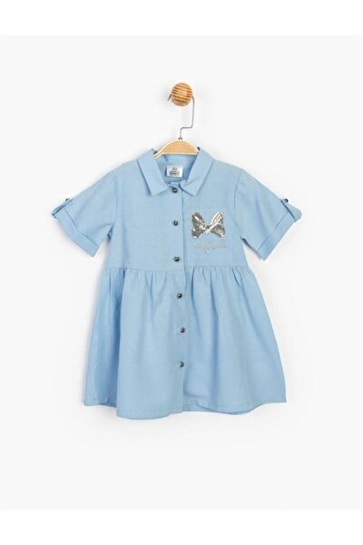 Kız Çocuk Mavi Düğmeli ve Pullu Elbise