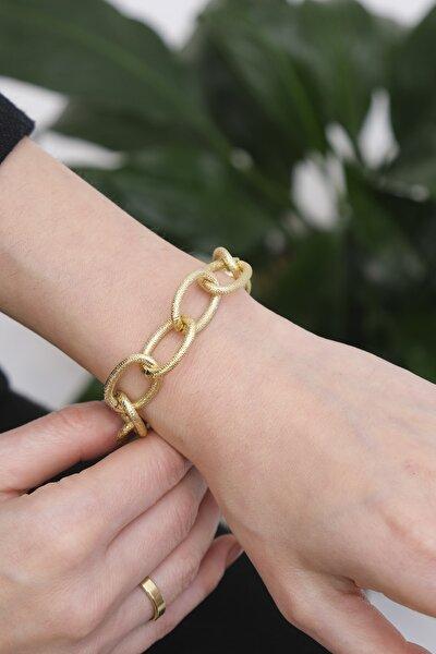 Kadın Altın Renkli Dövme Desen Zincir Bileklikaltın