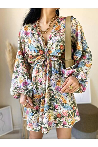 Kadın Çiçek Desen Büzgülü Elbise