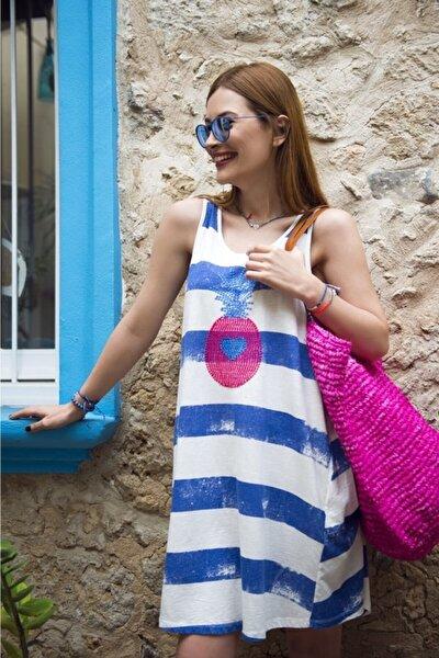 Çizgili Önü Nakışlı Kolsuz Cancun Kadın Plaj/ev Elbisesi