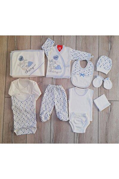 , Yenidoğan Erkek Bebek Mavi Tavşanlı 11'li Hastane Çıkış Seti