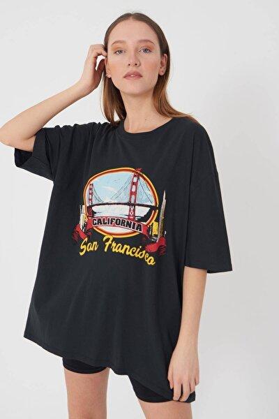 Kadın Füme Baskılı Oversize T-Shirt P9360 - B13 Adx-0000021496