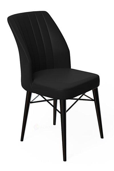 Liva Serisi Siyah Gürgen Ayaklı Siyah Sandalye