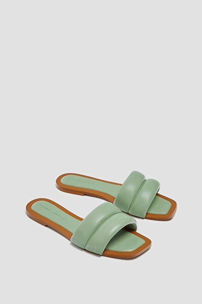 Kadın Su Yeşili Dolgulu Düz Sandalet 11800740