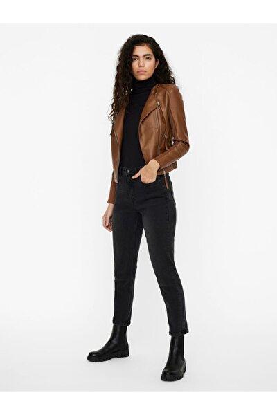 Kadın Kahverengi Suni Deri Ceket