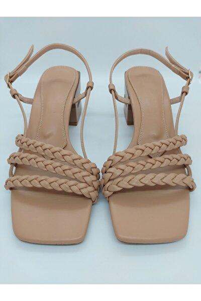 Kadın Örgü Model Kalın Topuklu Nude Sandalet