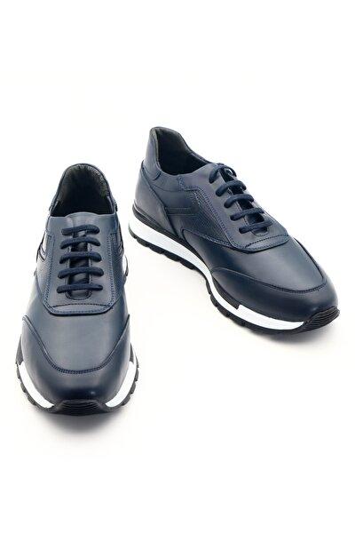Erkek Lacivert Hakiki Deri Casual Lacivert Ayakkabı