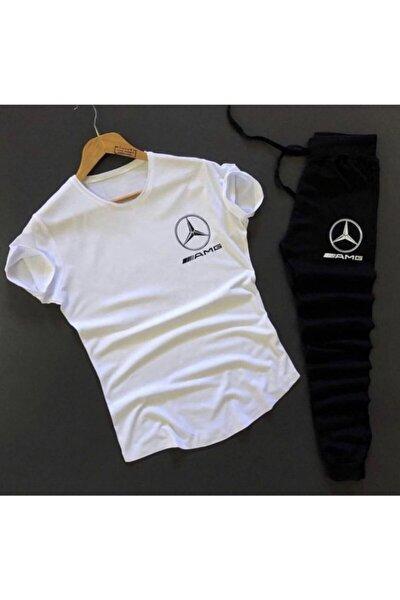 Erkek Beyaz Amg T-shirt Eşofman Kombin