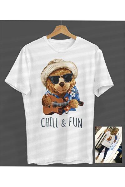 Unisex Kadın-erkek Chill Fun Ayıcık Beyaz Yuvarlak Yaka T-shirt