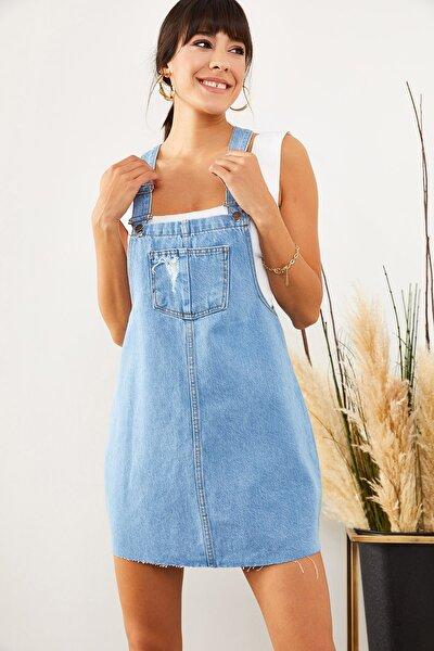 Kadın Açık Mavi Önü Cepli Denim Salopet Elbise SLP-19000033