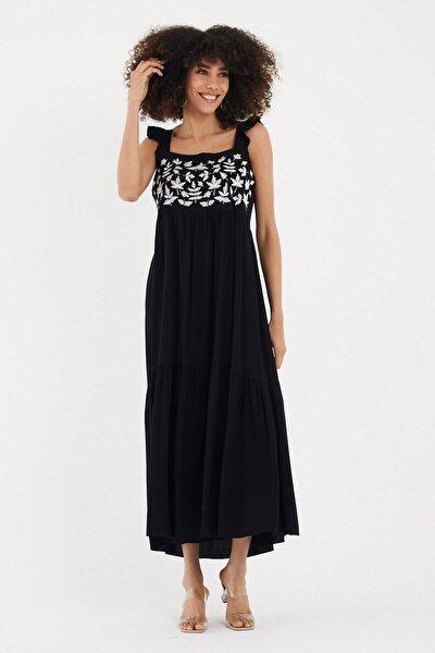 Valewoman Askılı Nakışlı Viskon Elbise