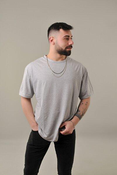 Erkek Gri Oval Kesim Oversize T-Shirt