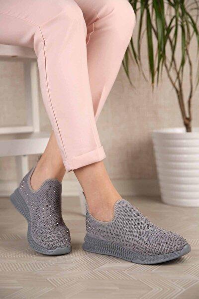 Kadın Gri Triko Taşlı Günlük Spor Ayakkabı