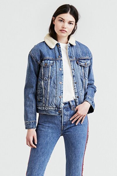 Kürklü Kadın Jeans Mont