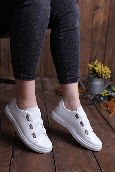 Kadın Beyaz Lastikli Casual Günlük Ayakkabı