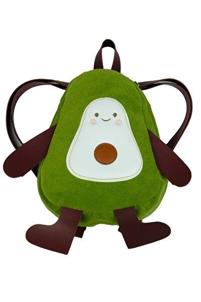 Sevimli Avakado Peluş Mini Çocuk Sırt Çantası Yeşil