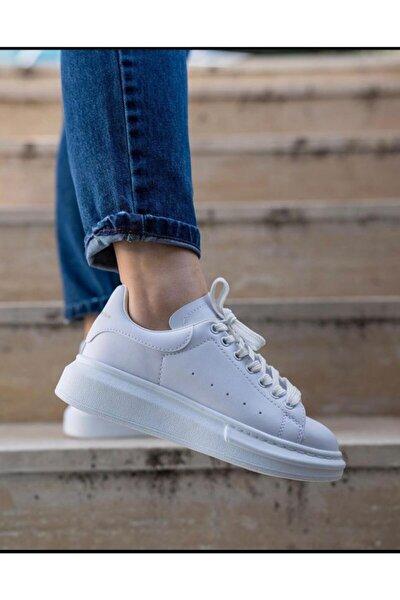 Unisex Beyaz Spor Kalın Taban Snekar Ayakkabı