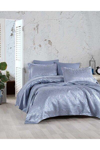 Yatak Örtüsü Takımı Çift Kişilik Jakar Şönil Kumaş Mucize Mavi