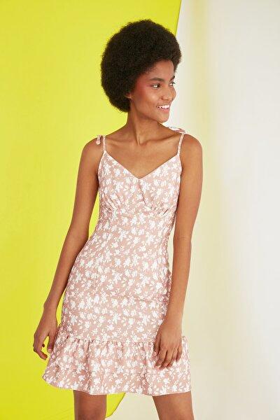 Kiremit Askılı Volanlı Elbise TWOSS21EL1805