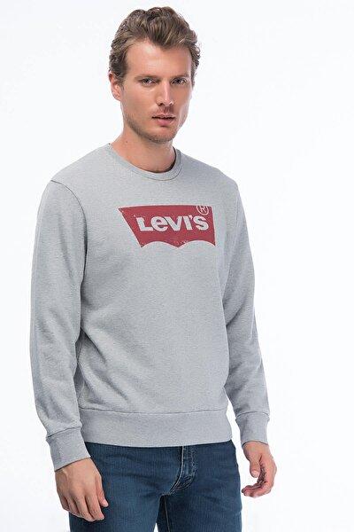 Erkek Gri Graphic Crew Housemark Sweatshirt 19492-0026