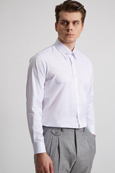 Erkek Beyaz Yaka Yuvarlak Uçlu Iğneli Pamuk  Slım Fıt Gömlek