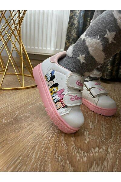 Kız Çocuk Beyaz Cırtlı Spor Ayakkabı Disney Desenli