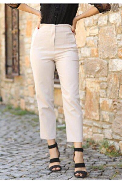 Kadın Bej Yüksek Bel Dikişli Binici Pantolon 1071