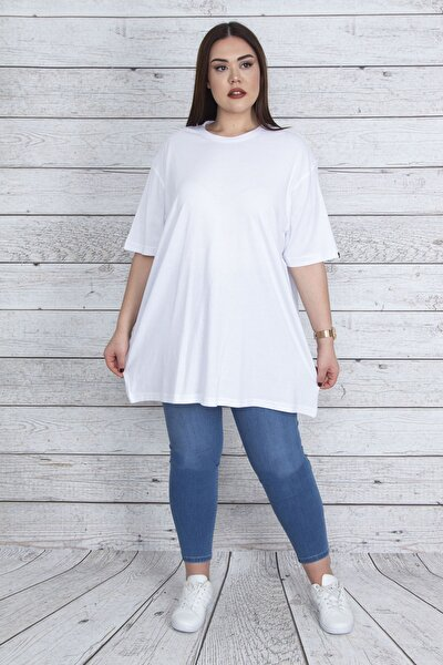 Kadın Beyaz Geniş Kesim Pamuklu Kumaş Oversize Bluz 65N23414
