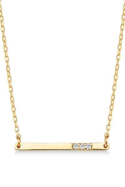 Kadın Altın  Diamond Pırlantalı Bar Kolye 14 Ayar