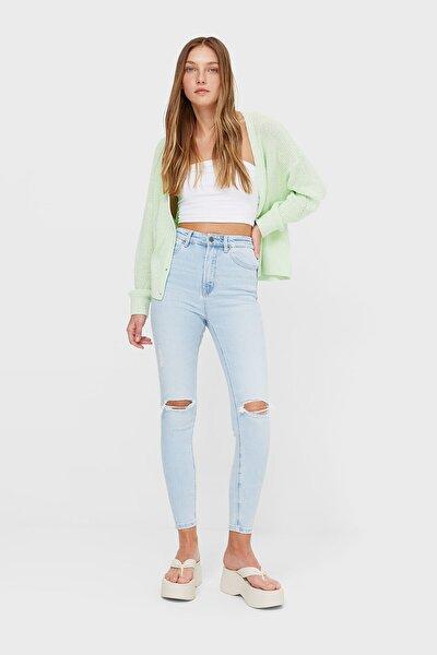 Kadın Mavi Süper Yüksek Bel Premium Jean