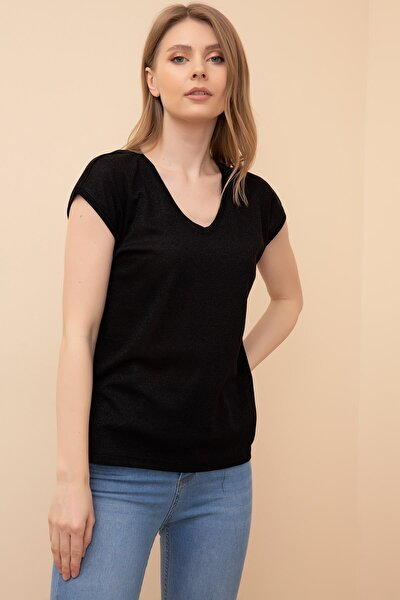 Kadın Simli V Yaka T-shirt