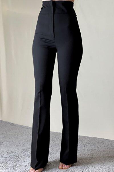 Siyah Ekstra Yüksek Bel Ispanyol Paça Toparlayıcı Pantolon