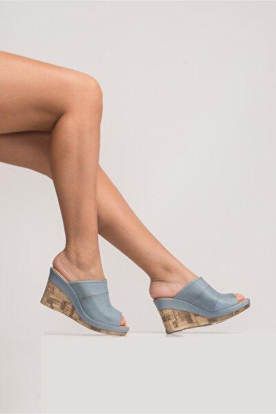 Kadın Mavi Dolgu Topuk Sandalet