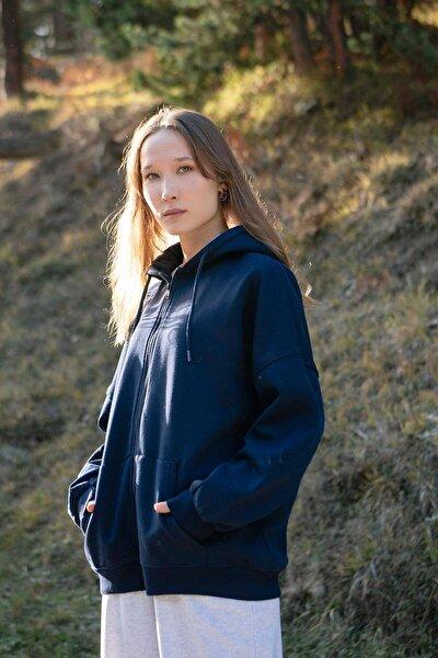Kadın Lacivert Kapüşonlu Uzun Hırka H0725 - W6 - W7 ADX-0000020316