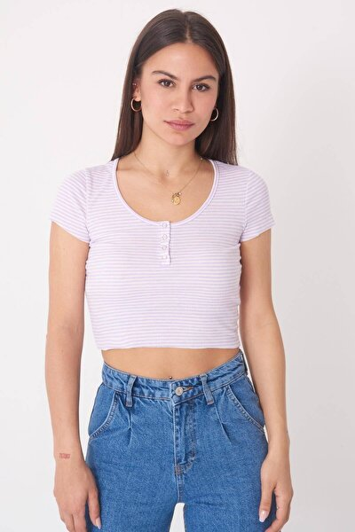 Kadın Lila Çizgili T-Shirt P1013 - W4 Adx-0000022573
