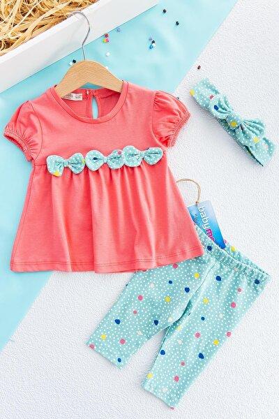 Kız Bebek Elbise Puantiye Desenli Bandanalı Takım